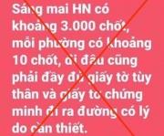 Thông tin Hà Nội lập 3.000 chốt kiểm soát dịch là bịa đặt