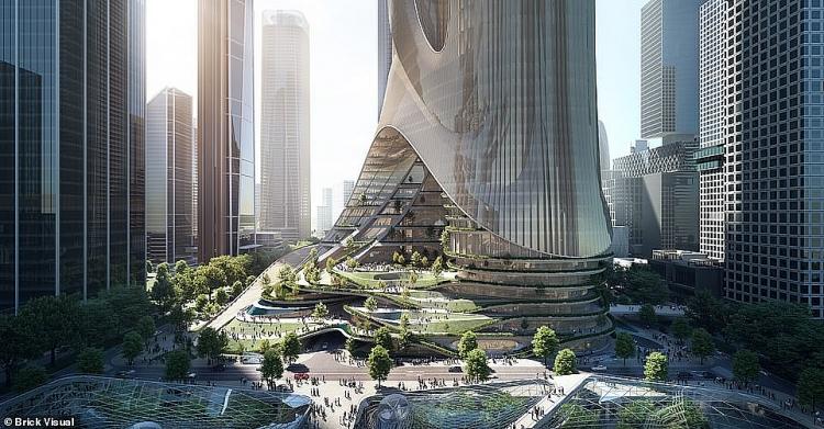 """Hình ảnh ấn tượng về """"Thành phố thẳng đứng"""" theo phong cách khoa học viễn tưởng"""