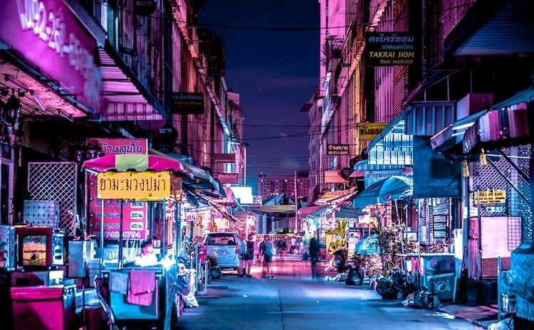 cuoc song duong pho bangkok ve dem qua bo anh neon an tuong